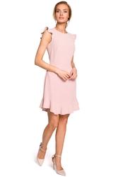 Dziewczęca letnia sukienka z falbaną bez rękawów pudrowa m438