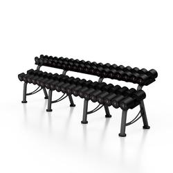 Zestaw hantli stalowych gumowanych 5-50 kg czarny połysk ze stojakiem l mp-hsgk2-l-k1 - marbo sport