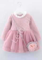 Wizytowa sukienka dla dziewczynki z tiulową spódnicą 939, różowa