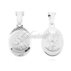 Srebrny medalik jezus matka  boska szkaplerzna, owalny kształt