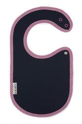 Śliniaczek ClickBibs granatowy z lamówką w różowo-białe paseczki