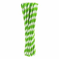 Słomki papierowe zielone w białe paski 24 szt.