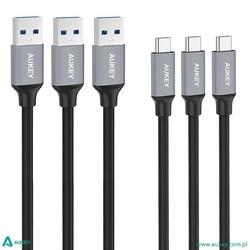 AUKEY CB-CMD1 zestaw 3 szt. nylonowych szybkich kabli Quick Charge USB C-USB 3.0 | 3 x 1m | 5 Gbps