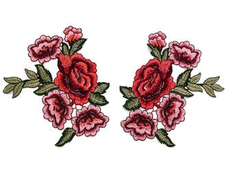 NASZYWKA APLIKACJA KWIATY małe róże KOMPLET 2 SZT