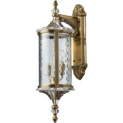 Zewnętrzny, klasyczny kinkiet z mosiądzu ze szklanym kloszem na 2 żarówki Chiaro 802021202