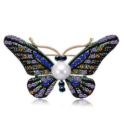 Broszka motyl cyrkonie perła - motyl