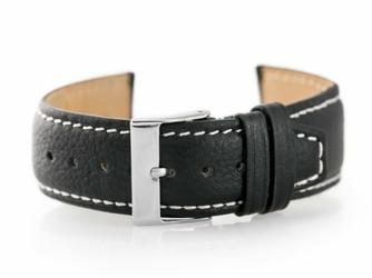 Pasek skórzany do zegarka W26 - PREMIUM - czarnybiałe - 24mm
