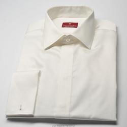Elegancka śmietankowa ecru koszula z krytą listwą NORMAL FIT 37