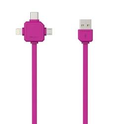Kabel USB 3.1, USB 2.0- USB C  Lightning  Micro-USB, 1.5m, 3w1, różowy, Powercube, płaski