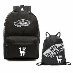 Plecak VANS Realm Backpack - VN0A3UI6BLK + Worek Custom White Lama