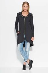 Czarna Długa Bluza na Suwak z Kapturem