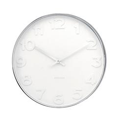 Karlsson :: Zegar Ścienny Mr. White Numbers Ø37,5cm - srebrny