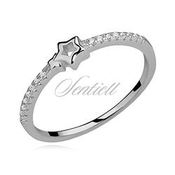 Srebrny pierścionek gwiazda pr.925 cyrkonia biała