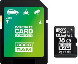 KARTA PAMIĘCI MICRO SD GOODRAM UHS1 CL10 U3 16GB + ADAPTER - Szybka dostawa lub możliwość odbioru w 39 miastach
