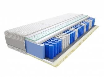 Materac kieszeniowy Jaśmin 200x210 cm Średnio twardy 2x Lateks Visco Memory