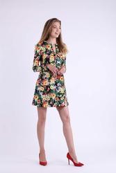 Kwiatowa Trapezowa Krótka Sukienka z Kokardką na Dekolcie