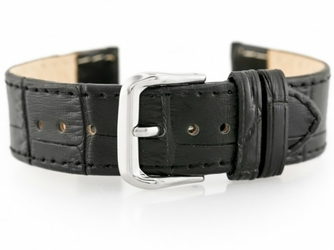 Pasek skórzany do zegarka W41 - czarny - 18mm