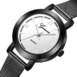 Zegarek damski GENEVA MESH czarny biały - black white silver