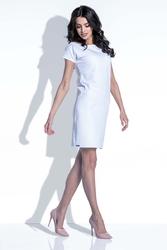 Biała Sukienka z Wycięciem na Plecach