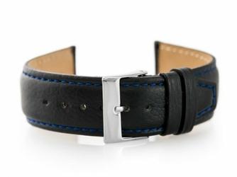 Pasek skórzany do zegarka W26 - PREMIUM - czarnygranat- 20mm