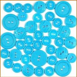 Kolorowe guziki 3 wielkości40 szt.niebieski jasny - NIEJAS