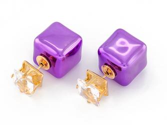 Kolczyki cube violet - VIOLET