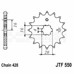 Zębatka przednia JT F 550-16, 16Z, rozmiar 428 2201644 Yamaha DT 80