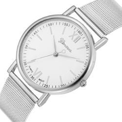 Zegarek DAMSKI GENEVA Klasyk MESH srebrny biały - mesh silver