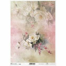 Papier ryżowy ITD A4 R1389 róże kwiaty