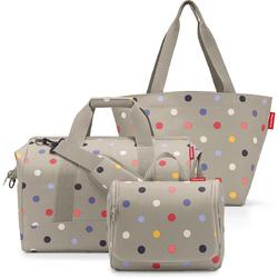 Torby na zakupy i kosmetyczka - zestaw prezentowy Reisenthel beige dots RSQ0850