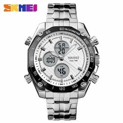 Zegarek męski SKMEI 1302 DUAL TIME silverwhite - silverwhite