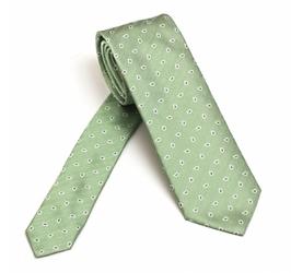 Elegancki zielony krawat jedwabny Van Thorn w mały biały wzór paisley