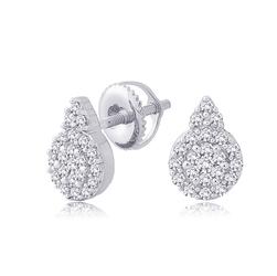 Staviori Kolczyki. 44 Diamenty, szlif brylantowy, masa 0,32 ct., barwa H, czystość SI2. Białe Złoto 0,585. Średnica 8 mm.