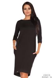 Czarna Dresowa Sukienka z Wycięciem i Kokardą na Plecach