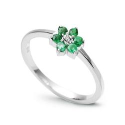 pierścionek białe złoto szmaragdy diament
