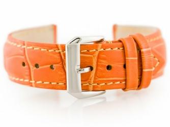 Pasek skórzany do zegarka W64 - pomarańczowy 22mm