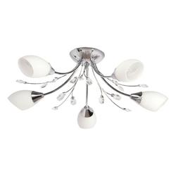 Lampa sufitowa chromowana na 5 żarówek DeMarkt białe klosze 356015105