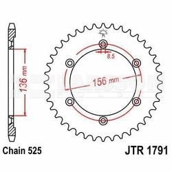 Zębatka tylna stalowa JT 1791-41, 41Z, rozmiar 525 2300774 Suzuki XF 650
