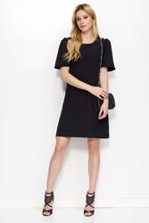 Czarna Sukienka Trapezowa z Krótkim Rozszerzanym Rękawem