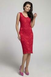Sukienka Koronkowa Midi Ołówkowa Czerwona