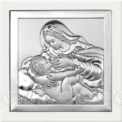 Obrazek BC64292XW Matka Boska Karmiąca na białym drewienku 12 x 12 cm.