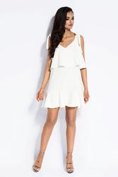 Biała Sukienka Wiązana na Ramionach z Falbanką