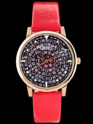 Czerwony zegarek damski na pasku PERFECT A579 - red zp822b