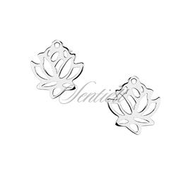 Srebrne 925 kolczyki kwiat lotosu