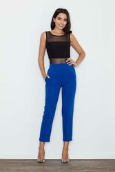 Niebieskie Eleganckie Spodnie Cygaretki z Mankietem