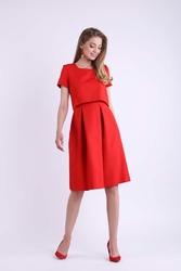 Wizytowa Rozkloszowana Czerwona Sukienka z Nakładką