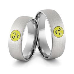 Obrączki ślubne z białego złota niklowego emotki emalia - Au-987