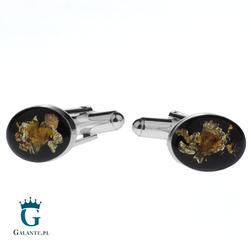 Owalne, srebrne spinki do mankietów z węglem i bursztynem SMW-013