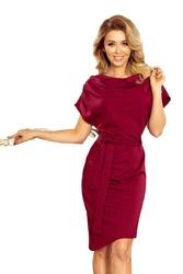 Asymetryczna Bordowa Sukienka z Paskiem