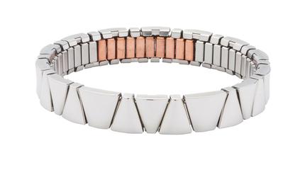 bransoletka 3285-1 magnetyczna z polerowanymi trójkątnymi ogniwami i miedzią